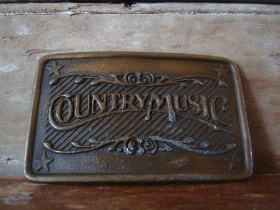 Vintage 1980's COUNTRY MUSIC Belt Buckle Brass