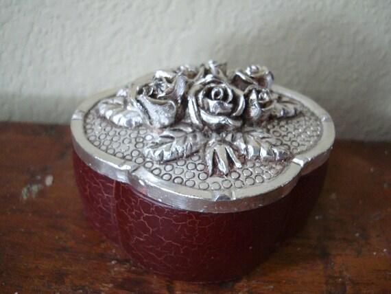 Vintage Decorative Rose Jewelry or Trinket Box  Ornate Fun