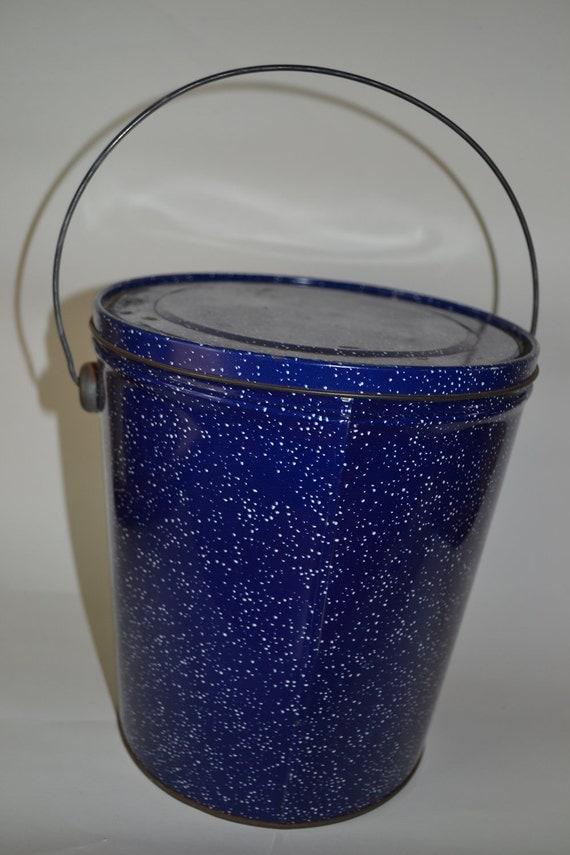 Vintage Blue Graniteware Speckled Bucket 1950ish