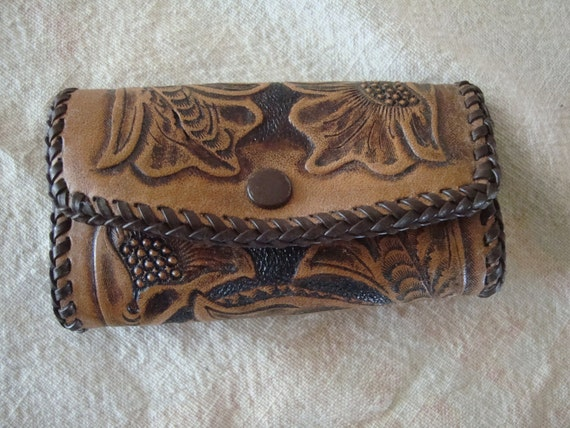 Vintage Hand Tooled leather Key Clutch Dark Brown 1950s or 60s