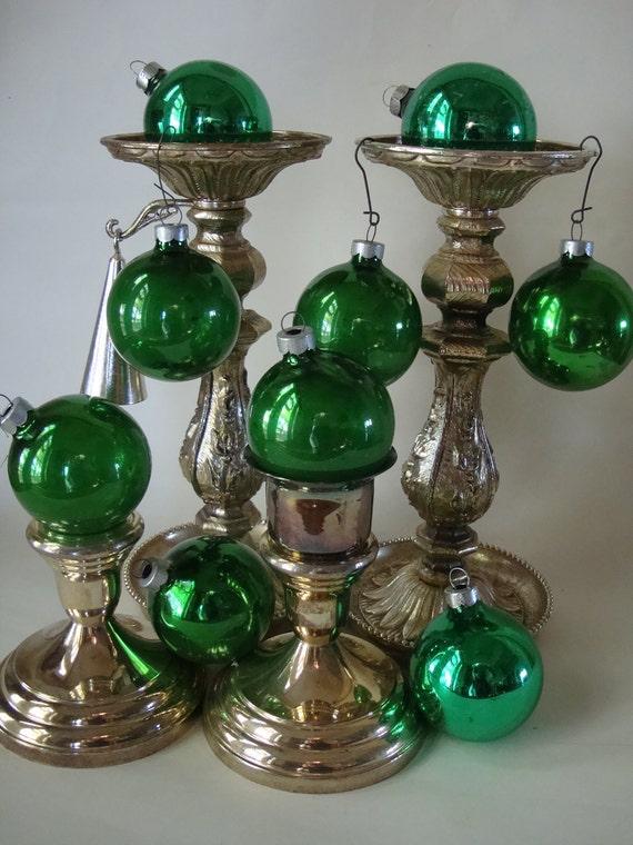 Vintage Green Christmas Mercury Glass Ornament Lot 8 Of  Shiny Brite