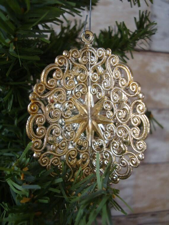 Vintage Christmas Gold Round Filigree Ornament 1950s