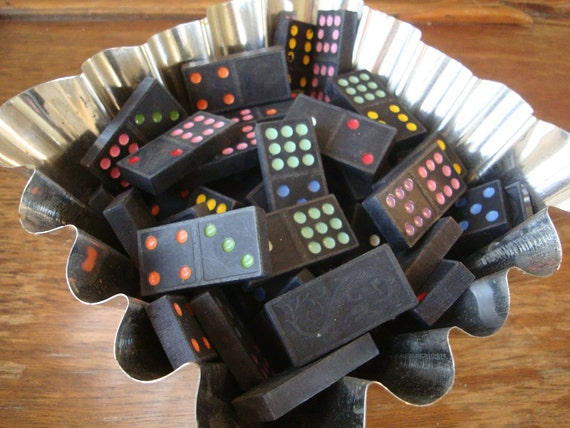 Vintage Wooden Dragon Domino Game Pieces lot of 50 Adorable