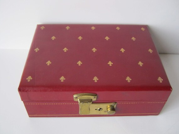 Vintage Red or Burgandy Jewelry Box From 50s or 60s