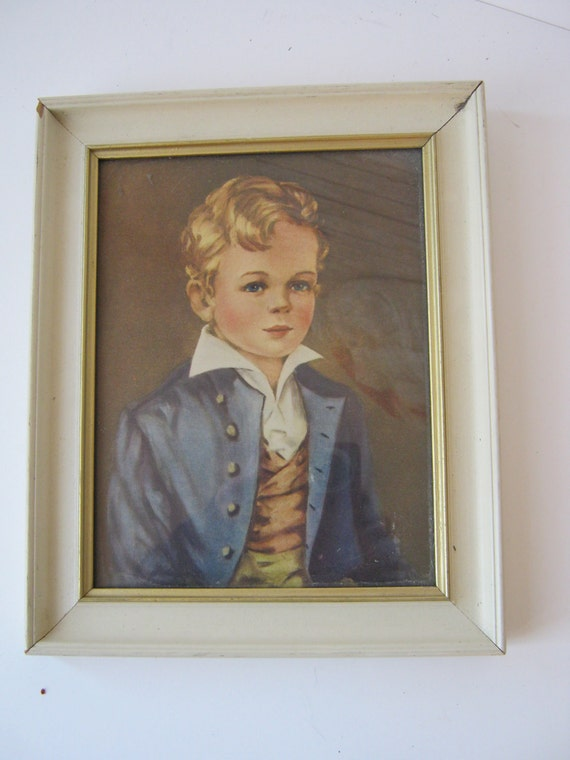 Vintage White Framed Victorian Looking Boy Picture Adorable