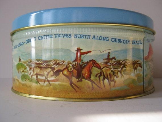 Vintage Western Dallas Fruitcake Texas Tin  Made in USA