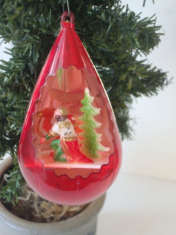 Vintage Jewel Brite Red Hard Plastic Christmas Ornament With A Wiseman Camel an Tree