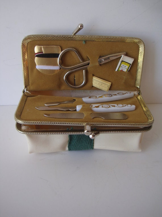 Vintage Mini Travel Sewing Manicure Kit  an Mirror