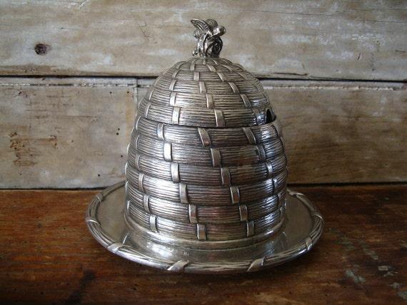 Vintage Silver Beehive Honey Pot Skep Paul Storr Design