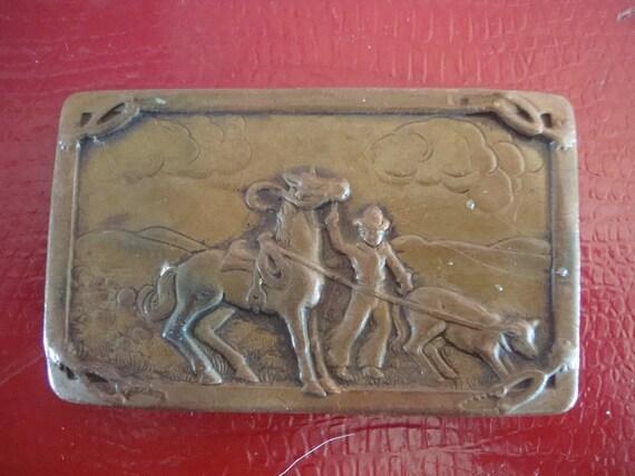 Vintage Brass Western Cowboy Belt Buckle