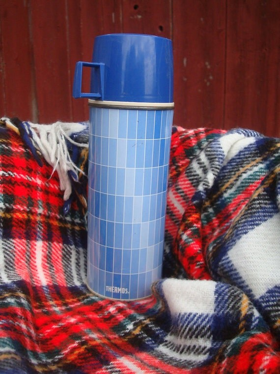 Vintage Thermos Blue Plaid  Pint  Made In the USA Norwich Conn