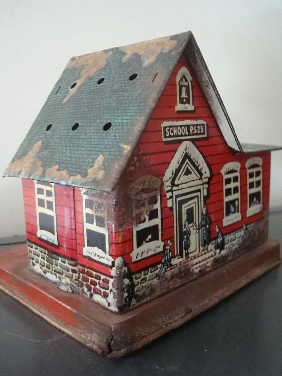 Vintage Metal School House Bank 1950's Adorable Collectible Tin