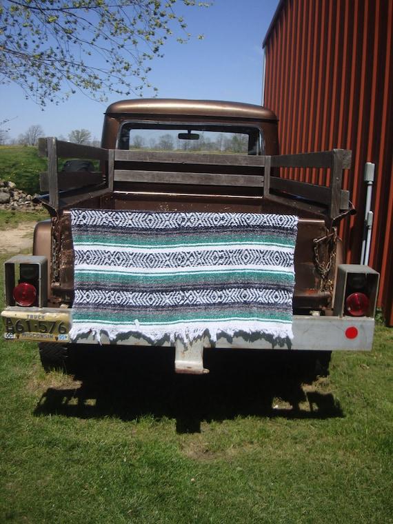 Vintage Hippie Shabby Chic Blanket Green Gray Black an White