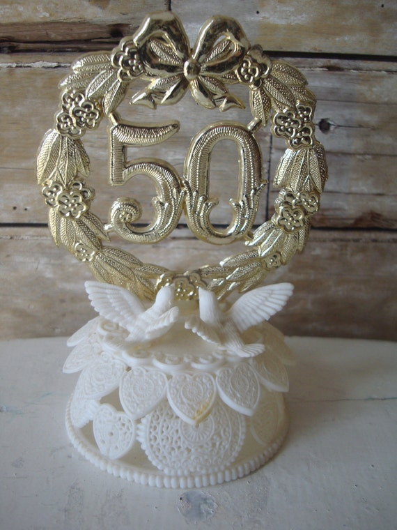 Vintage Cake Topper 50th Anniversary 1950's or 60's