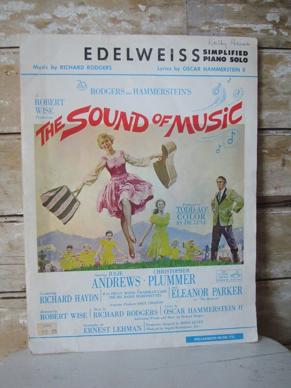 Vintage Sheet Music The Sound of Music Edelweiss 1967 Piano