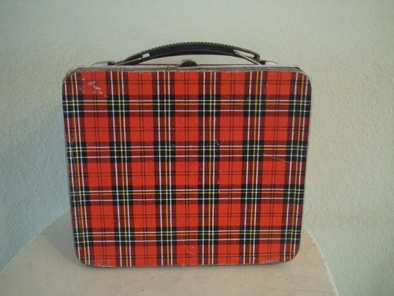 Vintage Red Metal Plaid Lunch Box