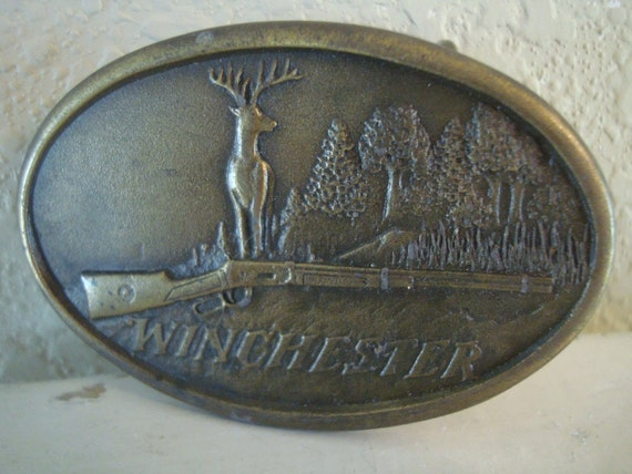 RESERVED FOR BRAD Vintage Winchester  Brass Belt Buckle Rifle an Buck 1970's
