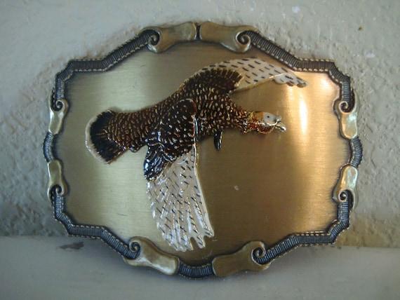 Vintage Turkey Belt Buckle Mixed Metal 1970's