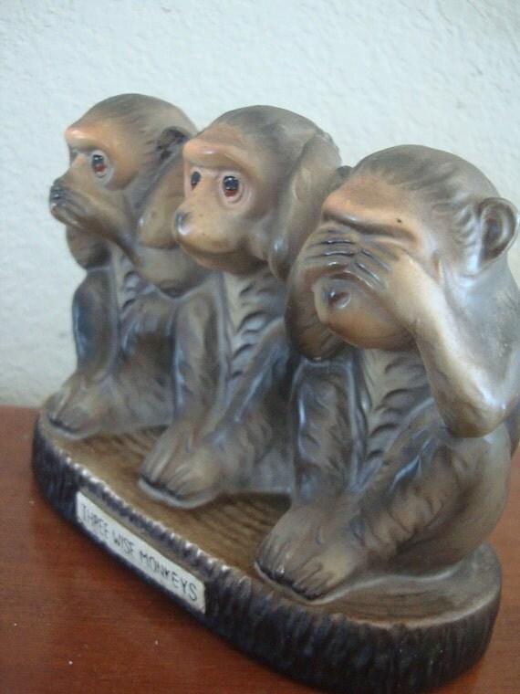 Vintage Three Wise Monkeys Bank  Adorable  Collectible