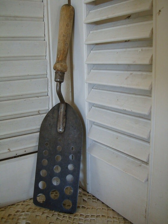 Vintage Primitive Spatula Wooden Handle  Unique