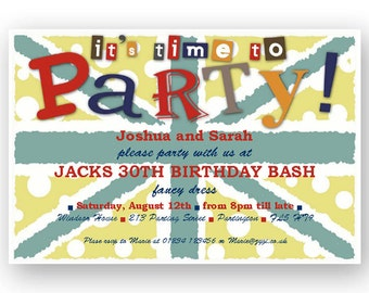 Punky funky union jack DIY party invitation - Editable- INSTANT DOWNLOAD