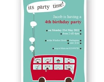 Retro London Bus Printable DIY Party Invitation - Editable - INSTANT DOWNLOAD