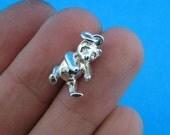 Solid 925 Sterling Silver Teddi Bear Chram P-1485