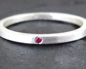 Sterling Silver Stacking Ring 925 and Ruby Handmade Matte Finnish Size: 8