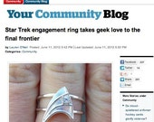 PUBLISHED Sterling Silver Engagement Ring with White Sapphire Star Trek Insignia Inspired  Made To Order