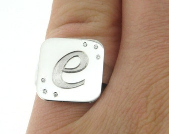 14K White-Gold Signet Ring With Diamonds Initial Pinky Ring Custom Ring Made to Order