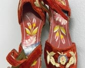 """WWII wooden sandels hand carved painted embroidered 6"""" sole"""