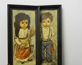 70s print set girl and boy peasant children by Alvaro near mint condition