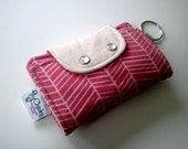 pink and white chevron keychain wallet