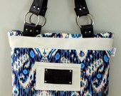 Ikat print and Leather Bag