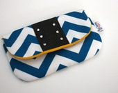 SALE-SALE-SALE---Turquoise Chevron and Leather Clutch