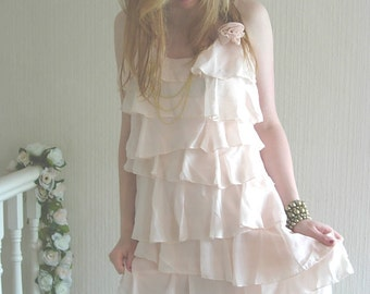 Ruffled Dress-Peachy Almond Alternative Beach Wedding Reception