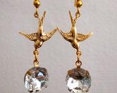 Sparrow and round faced crystal glass stone earrings