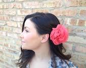 Coral Flower Chiffon Hair Clip