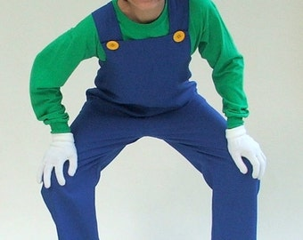 Mario Bros Costume - Luigi Costume (4 pieces set)