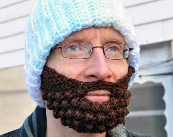 Beard for a Beanie Hat, Adult Medium, Brown, Red Heart Super Soft Yarn