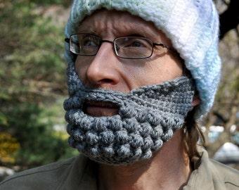 Beard for a Beanie Hat, Adult Medium, Gray