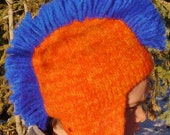 Oilers Orange and Blue Mohawk Hat with White Tassels for child through to adult