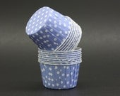 10 Light Blue and White Polka Dots Round Baking Cups - LIMITED QUANTITIES