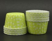 10 Yellow and White Polka Dots Round Baking Cups