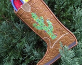 Eco Friendly Embroidered Cactus Cowboy Boot Pocket Stocking or Party Favor from Recycled Plastic Bottles