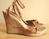 Vintage 70s cork wedges with mocha leather, 6