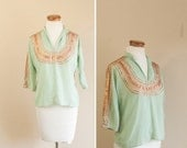 1940s western blouse // mint green and gold