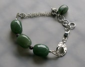 Pure Silver Clay and Aventurine Bracelet