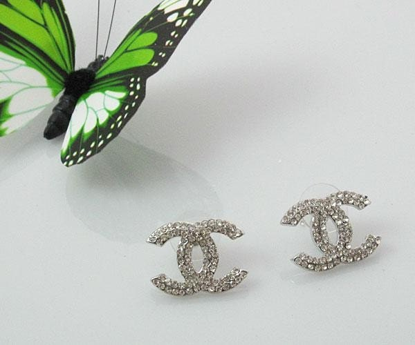 chanel c c diamond earrings large. Black Bedroom Furniture Sets. Home Design Ideas