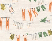 Heather Ross Far Far Away 3 Kokka Fabric Laundry in Orange / Green - 1 Yard